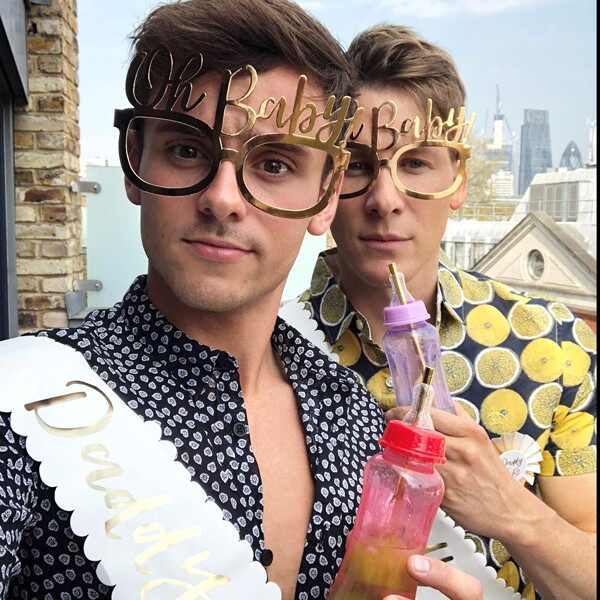 Tom Daley, Dustin Lance Black, baby shower, Instagram